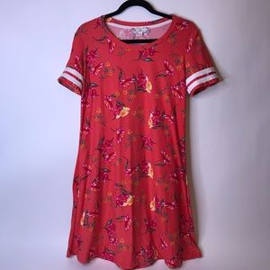Pink Rose Deep Coral Floral Print Dress, Large